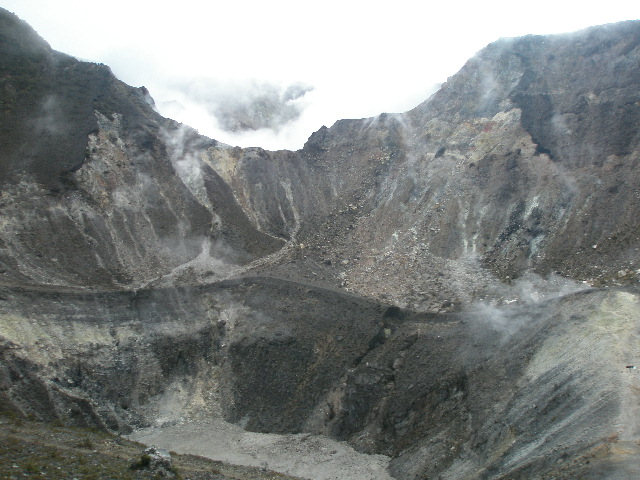 At the edge of the crater
